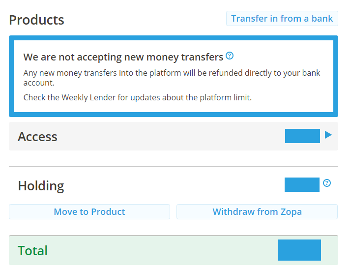Zopa stops new deposits