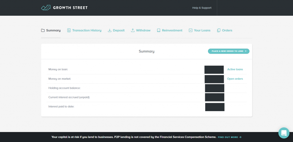 Growth Street Dashboard View