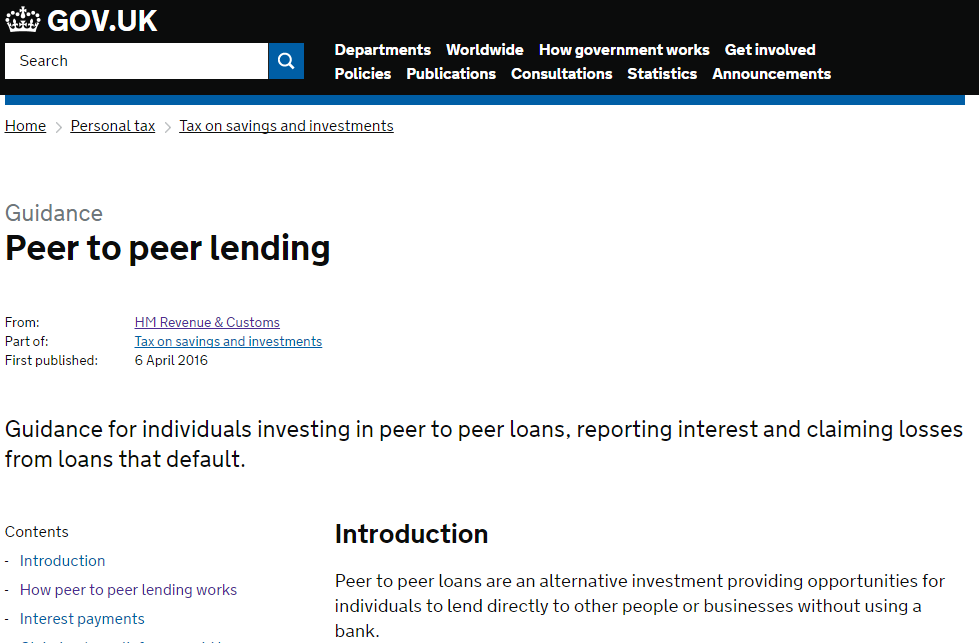 HMRC Peer-to-Peer lending tax