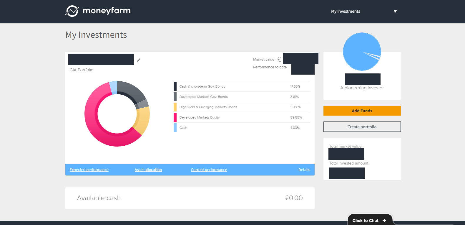 MoneyFarm Dashboard
