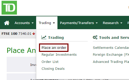 TD Investing Place Order